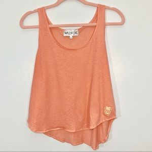 Wild Fox | Orange Linen Blend Crop Top Tank Top